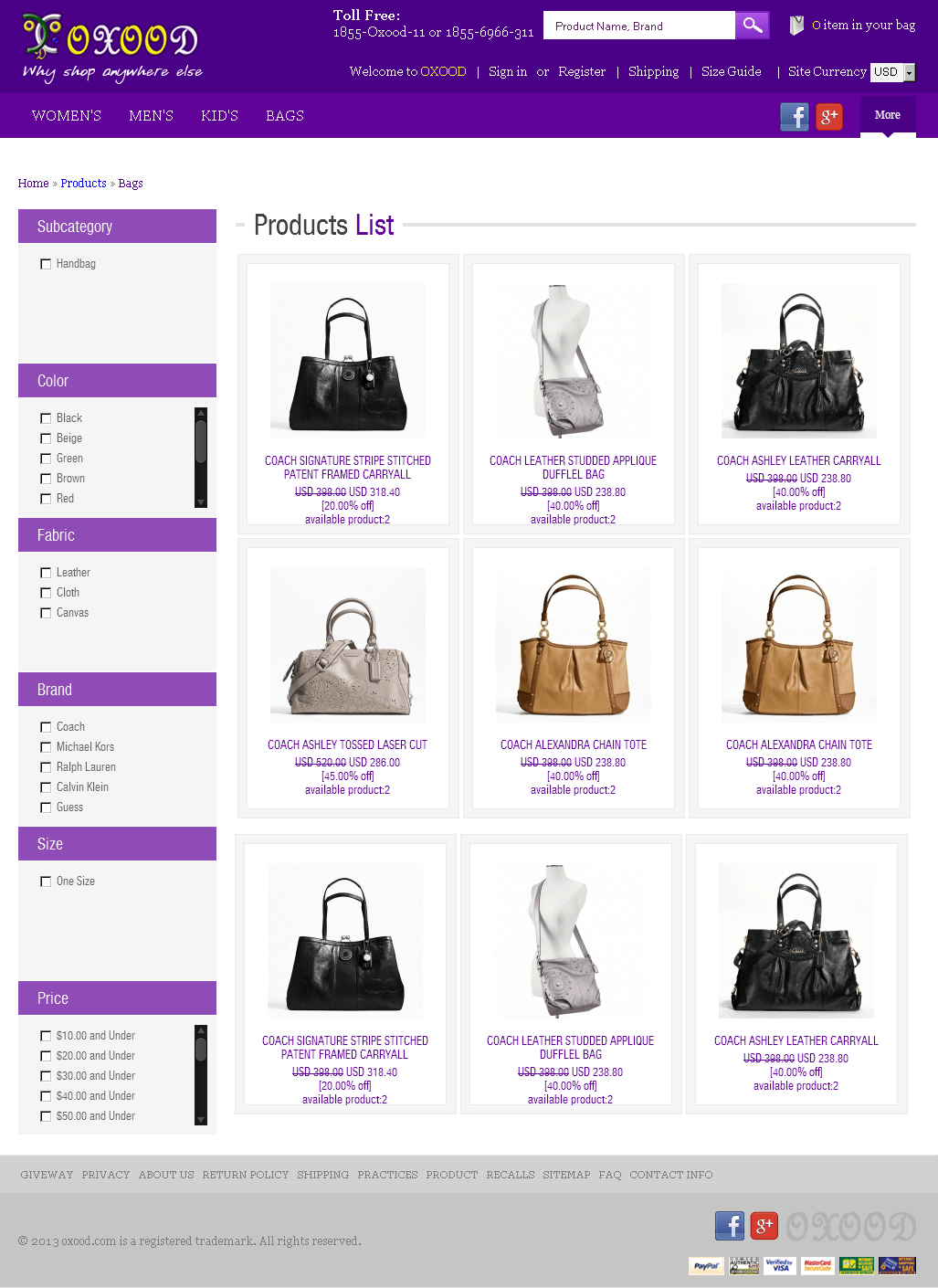 PHP eCommerce Website for Retail 'Oxood' - Handbags Store Online
