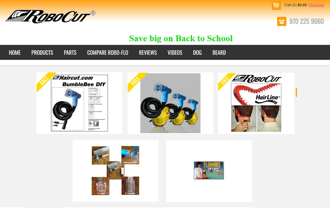 Website for Haircut Machine & Parts Seller 'RoboCut' Using PHP