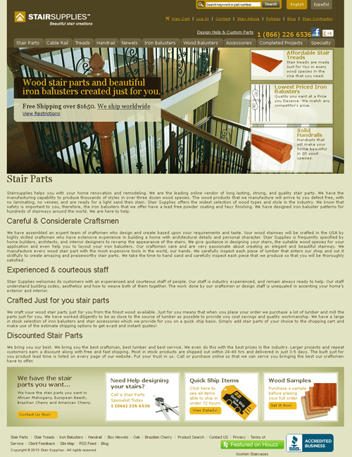 Website for Retail 'StairSupplies™' Using PHP - Stair Parts Supplier