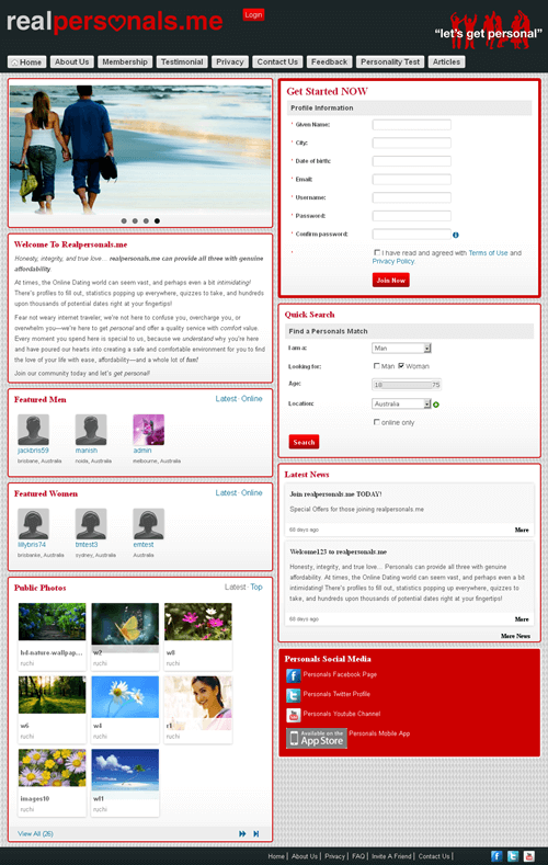 PHP Website for Online Dating Services 'Real Personals'