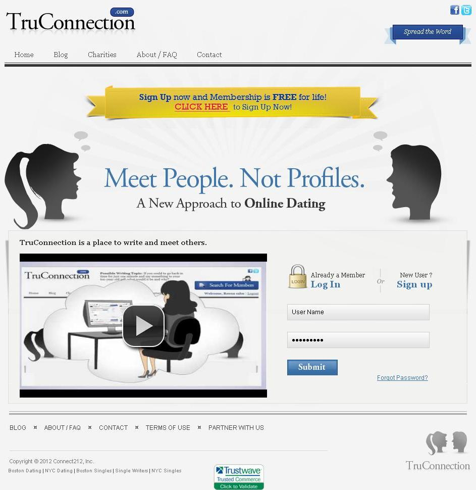Website for Online Dating Services 'TruConnection' Using PHP