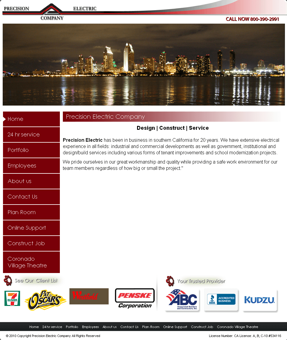 Website for Electrical Service provider 'Precision Electric' Using PHP