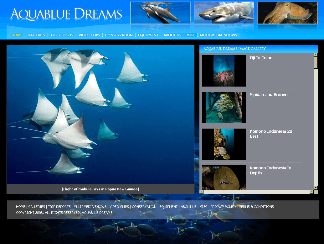 Website for Travel 'Aquablue Dreams' Using PHP - Scuba Diving Services