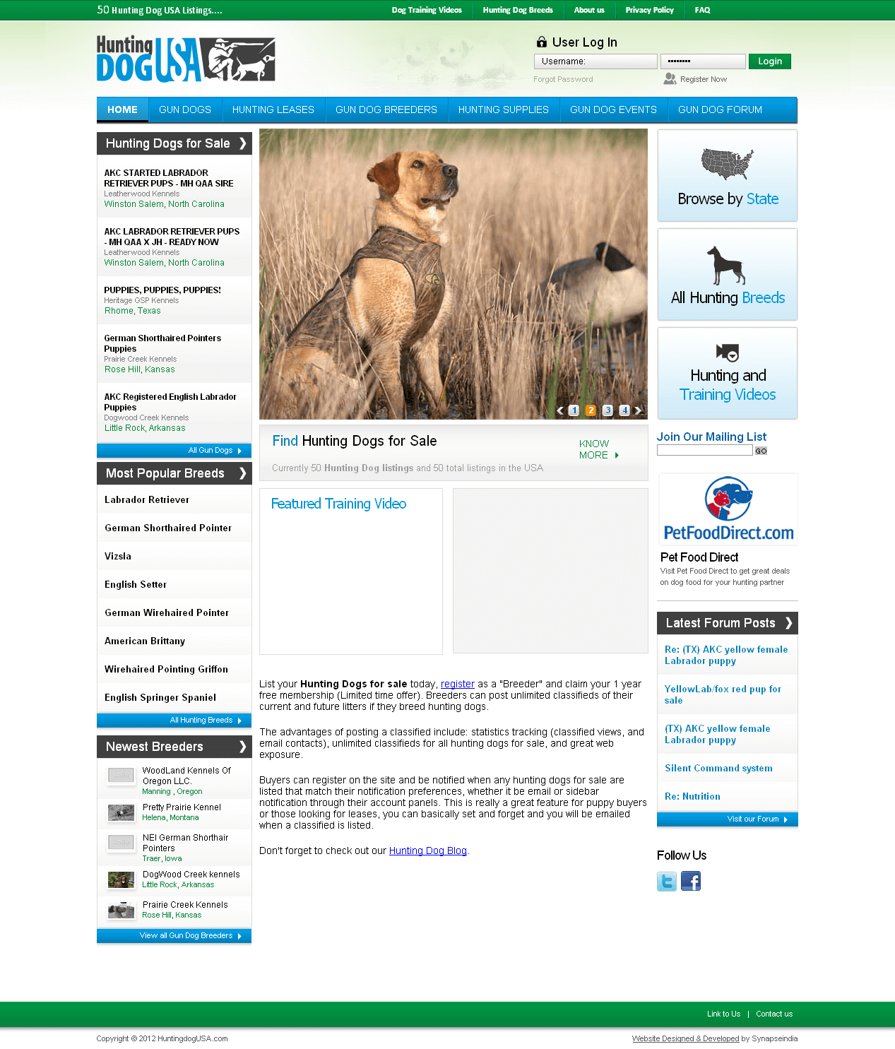 Pet Website in PHP for 'Hunting Dog USA' - Online Dogs Seller