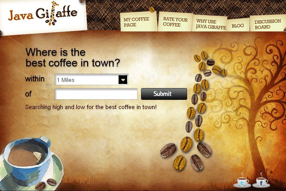 Travel Website in PHP for 'Java Giraffe' - Coffee Shop Directory
