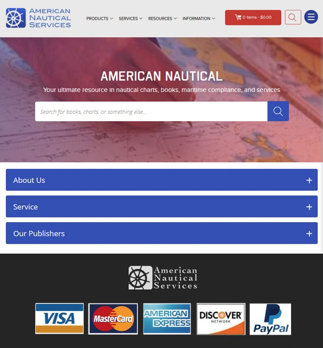 Ruby on Rails eCommerce Website Development for American Nautical Services
