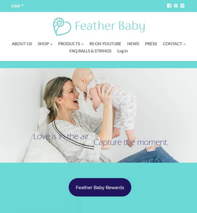 Redesigned a Shopify Baby Clothing Store, USA - Feather Baby