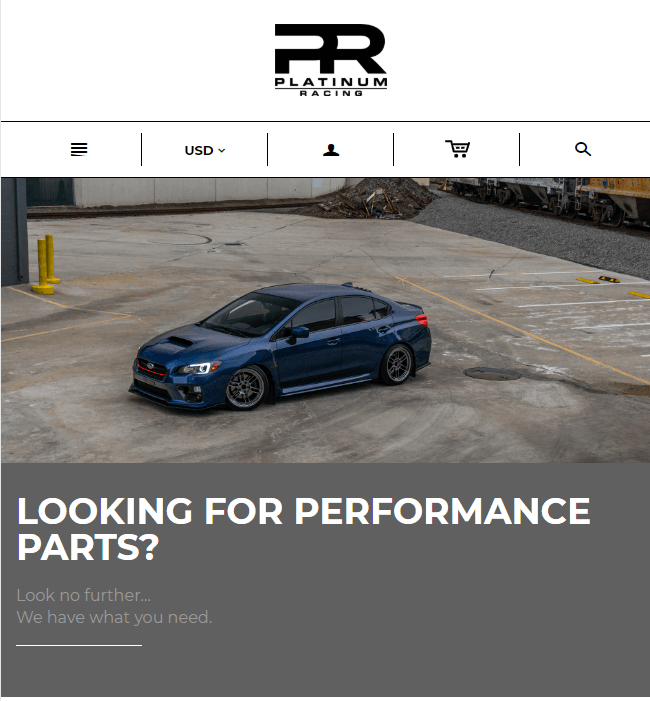 Shopify Website Maintenance for Automobile Industry, USA - Platinum Racing