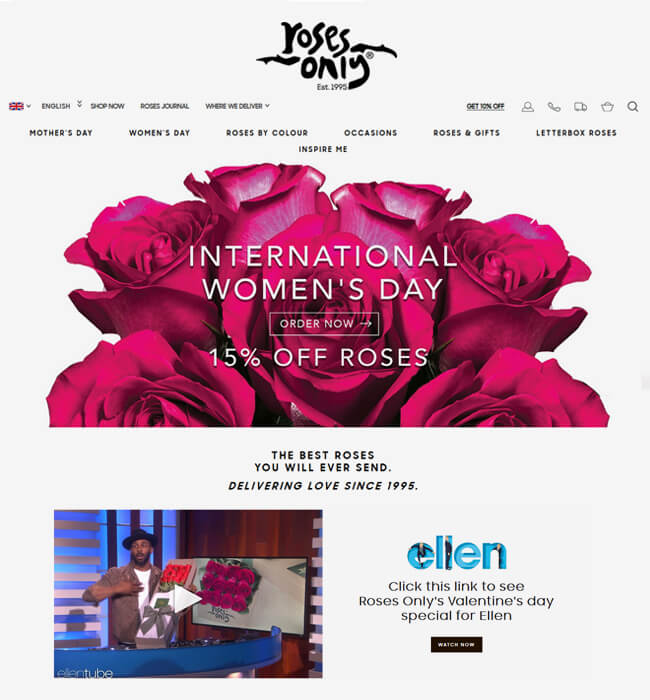 Shopify Website Development for Floral Industry in the UK – Roses Only