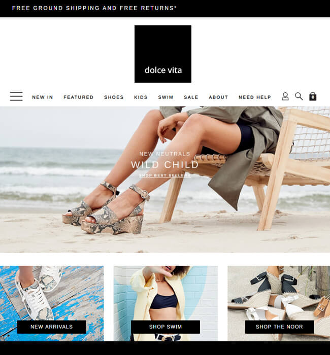 eCommerce website design & development for a fashion retailer - Dolce Vita