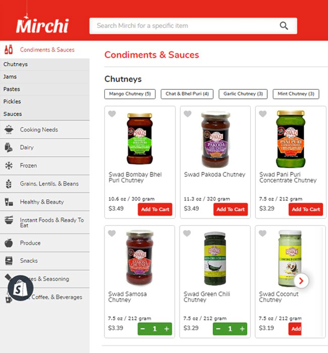 Ecommerce Website Development for Retail Industry 'Mirchi' in Shopify