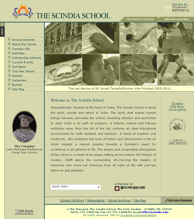 PHP Website for Education 'Scindia' – Boarding School