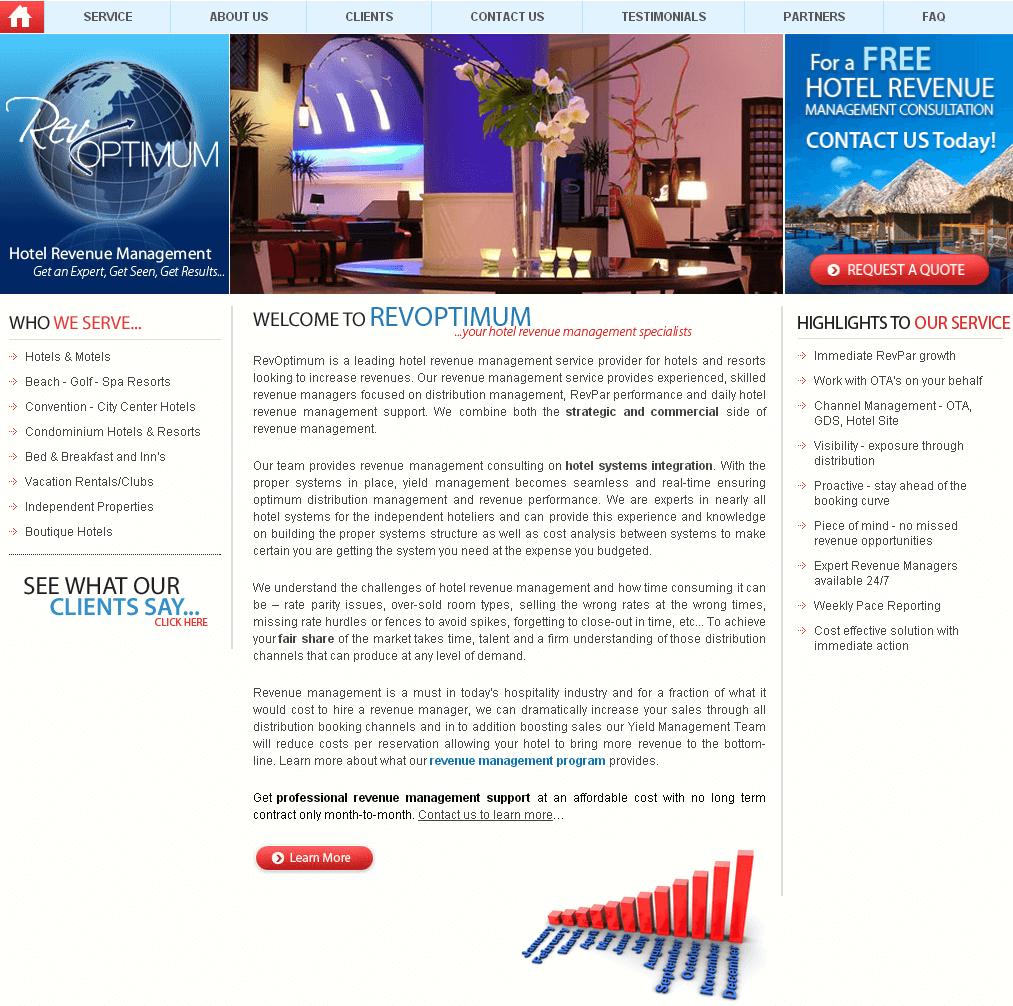 Website for Travel 'RevOptimum' - Hotel Revenue Management Experts