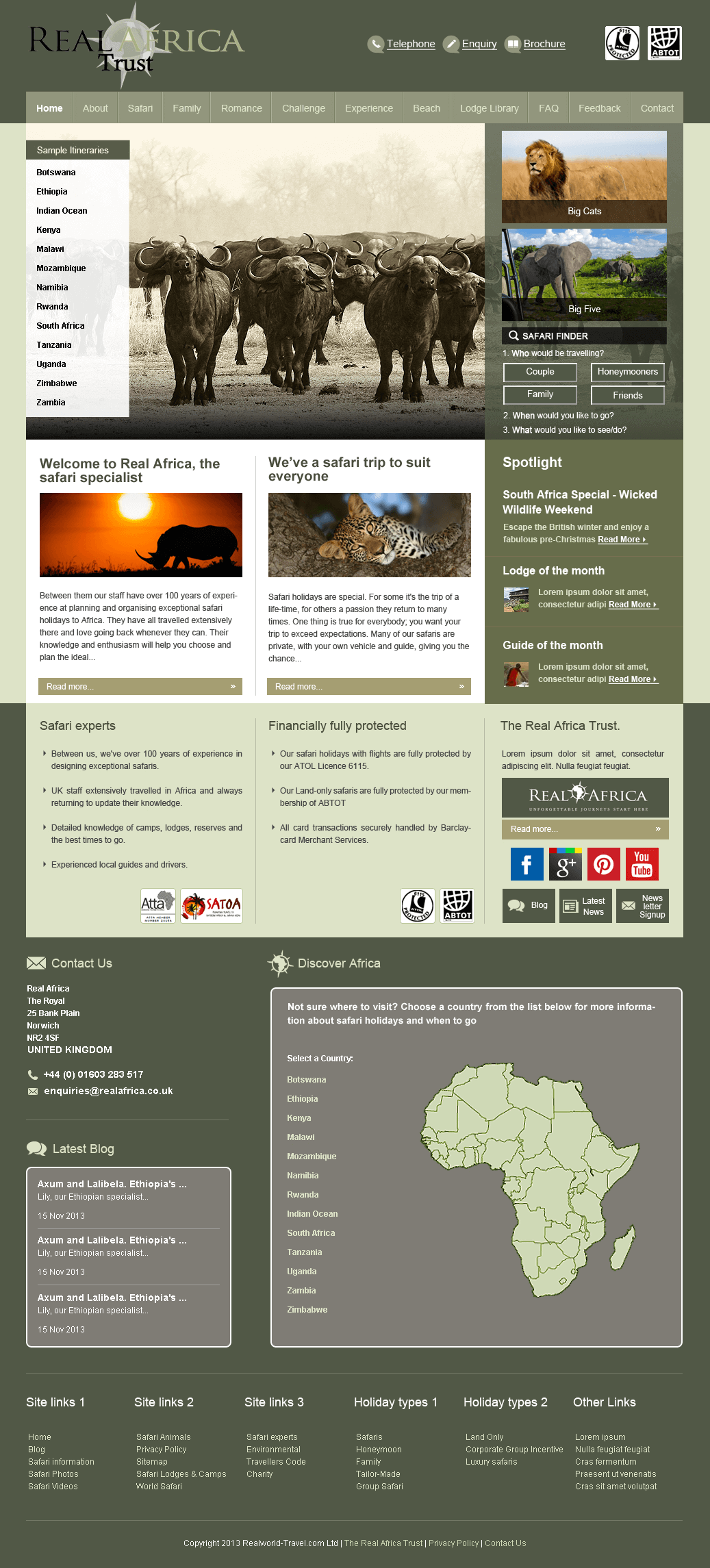 PHP Website for Travel 'Real Africa' – African Safari, Tailor Made Holidays