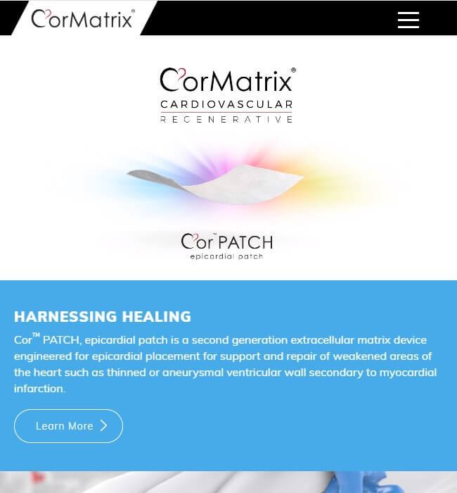 WordPress Website Development for Healthcare Industry, USA - CorMatrix