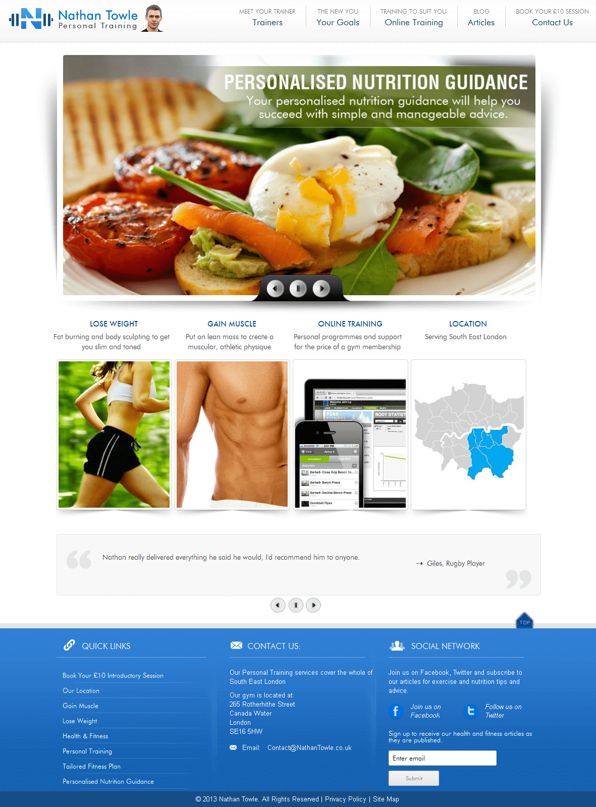 Wordpress Website for Fitness Training 'Nathan Towle' – Personal Trainer