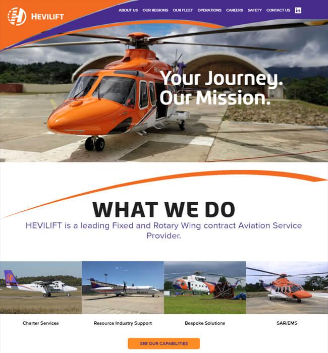 WordPress Website Designing for Aviation Industry in Australia - Hevilift