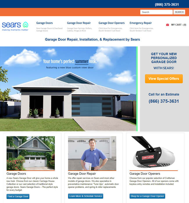 WordPress Website Development for Sears Garage Doors, USA