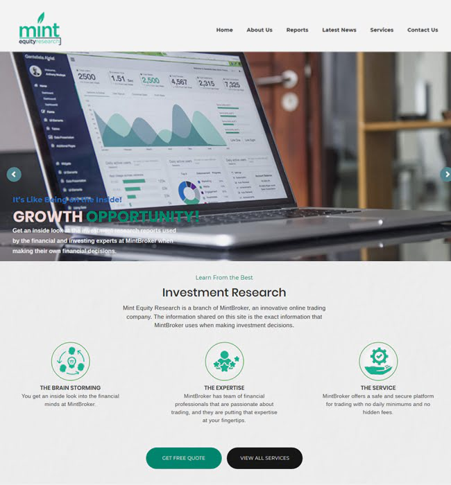 Website Development for Banking Industry 'Mint Equity Research' in WordPress