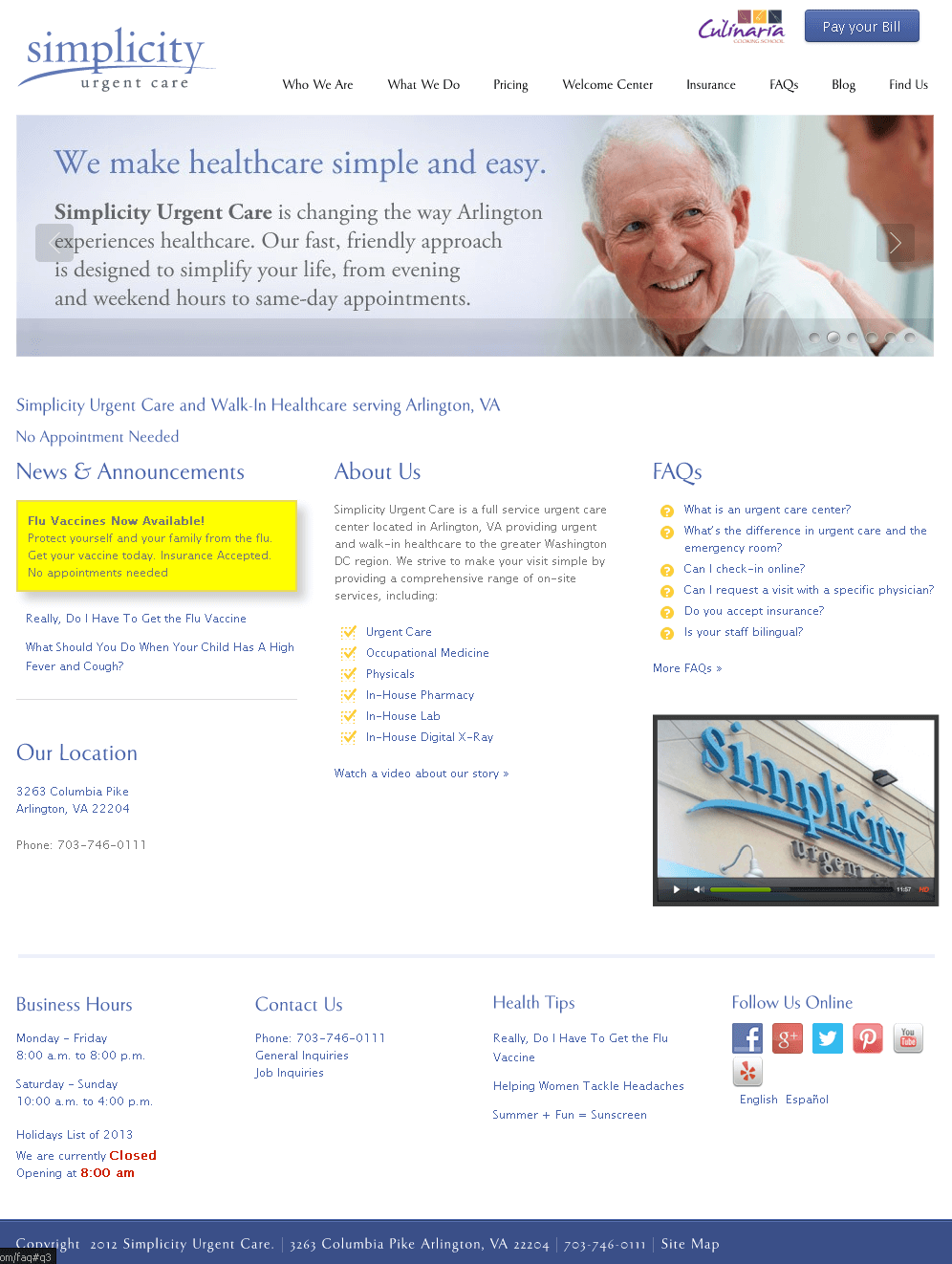 Website for Hospital 'Simplicity Urgent Care' in Wordpress
