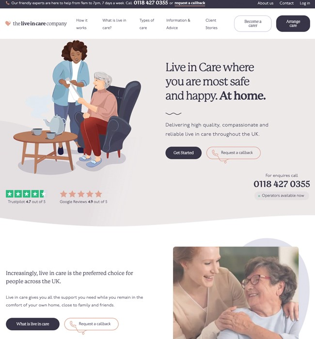 Development of The Live In Care Company Website Using WordPress