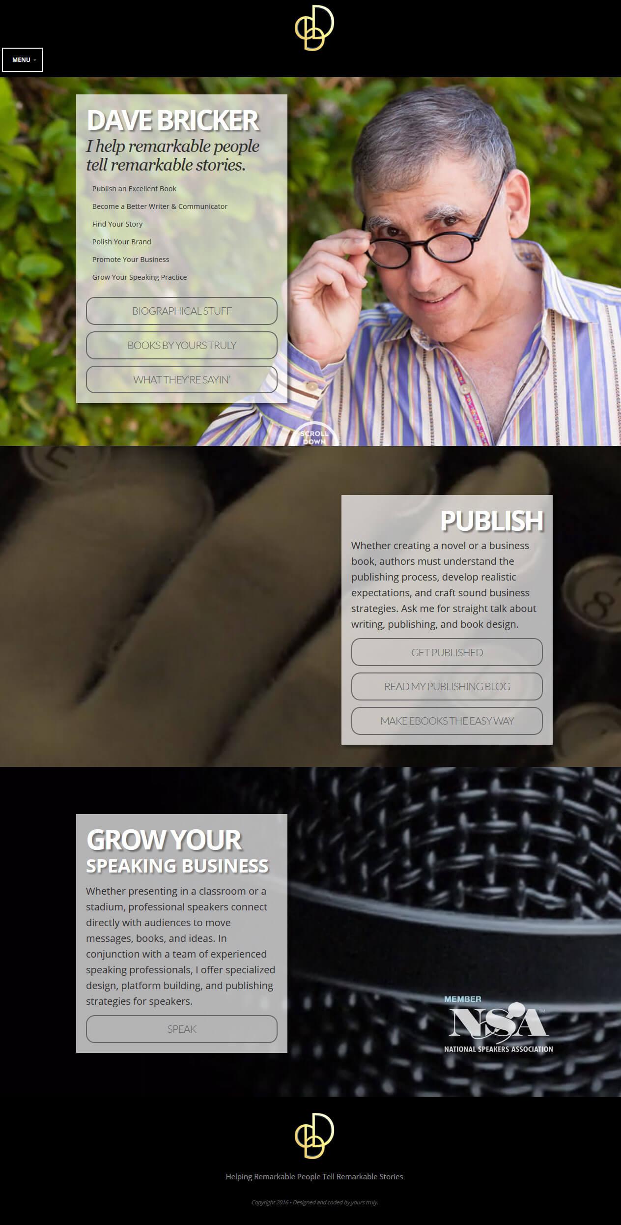 Website for Media 'Dave Bricker' in Wordpress - Online Books Seller