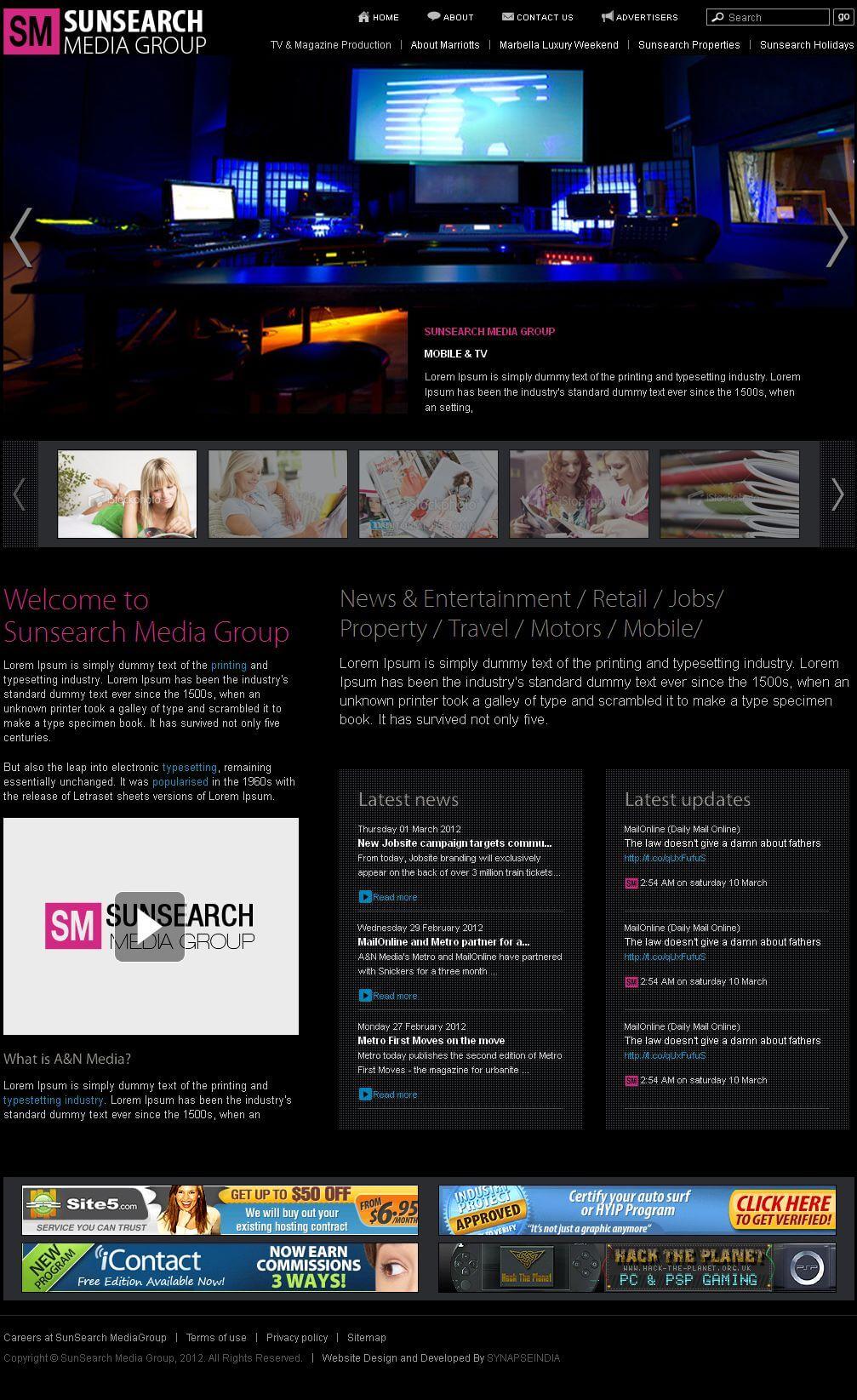 Website for Media 'Sun Search' in Wordpress - Search Portal
