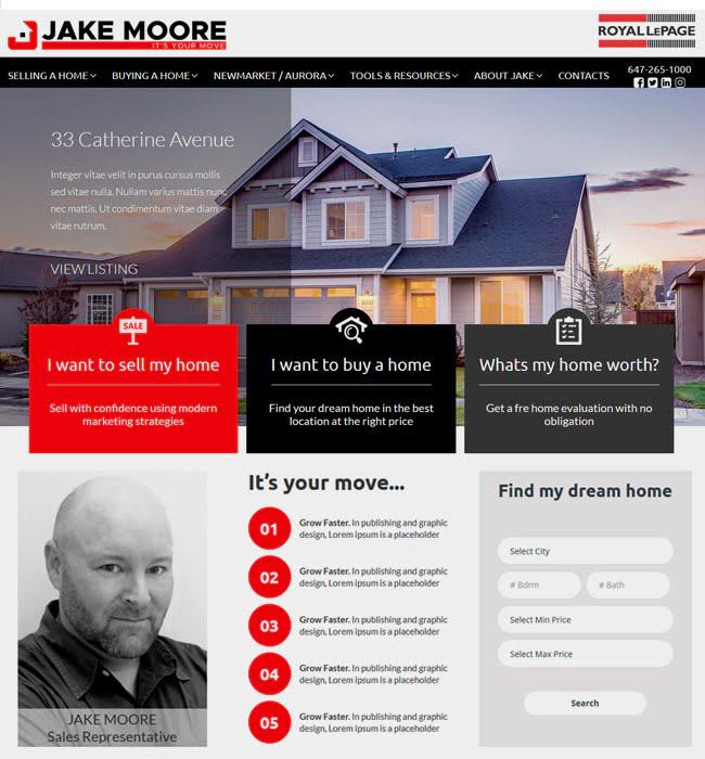 Website Development for Real Estate Industry 'Jake Moore' in WordPress