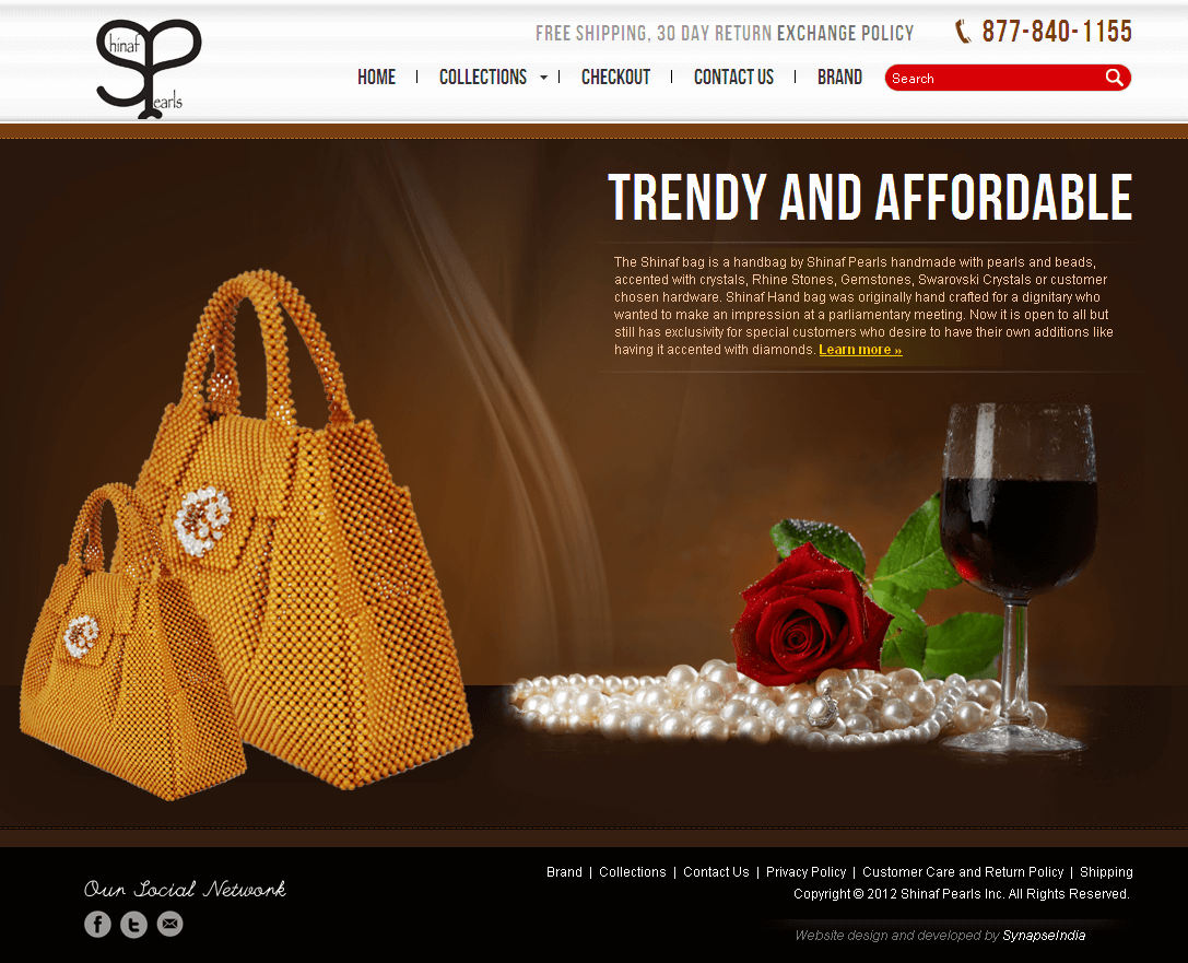 Website for Retail 'Shinaf Pearls' Using Wordpress - Online Jewelry Shop