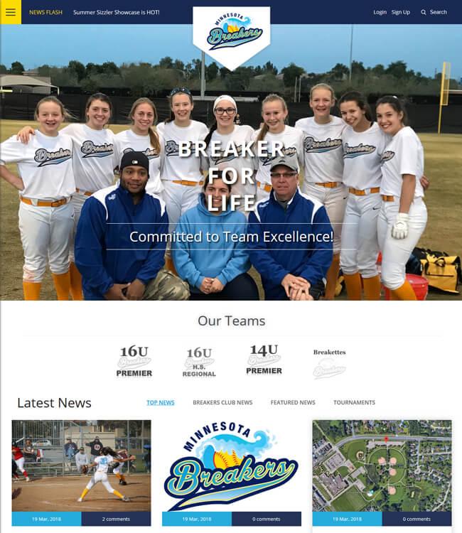 Website Development for Sports Industry in USA - Minnesota Breakers