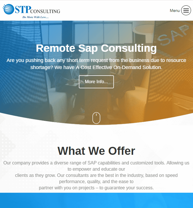 WordPress Website Development for STP Consulting, an IT Company in USA