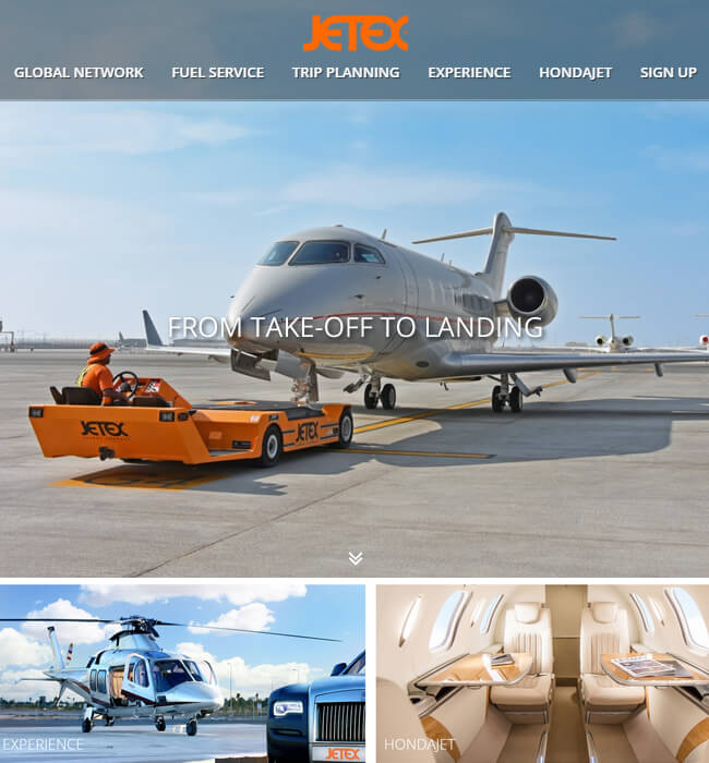 Aviation Industry Website - Trip planning & Aircraft services - Jetex